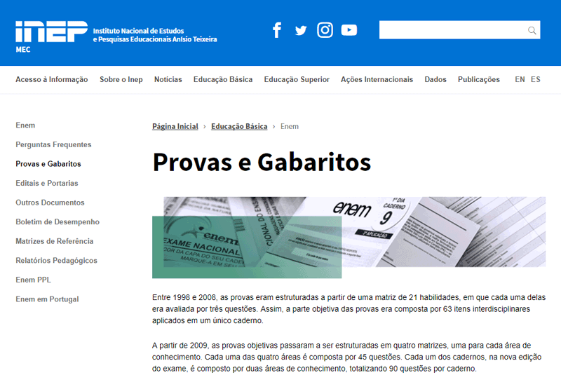 Consulta Gabarito ENEM 2021