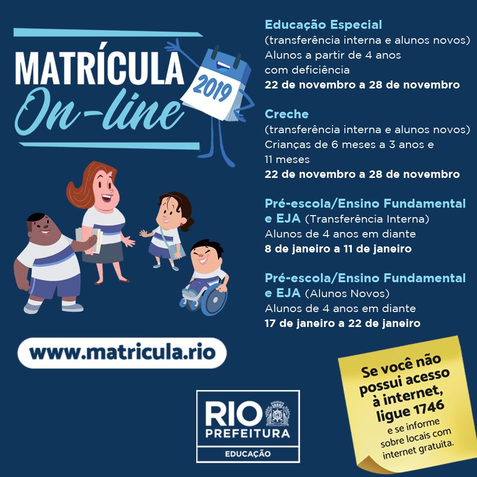 Calendário do Matrícula RIO
